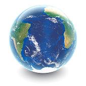 Globe on white South Atlantic Ocean - white studio reflections