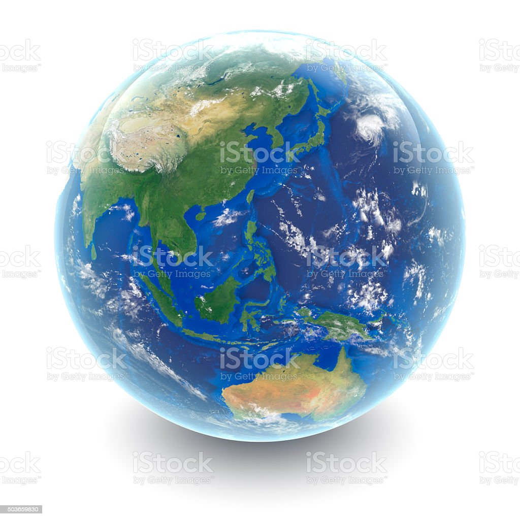 Globe on white South East Asia with white studio reflections stock photo