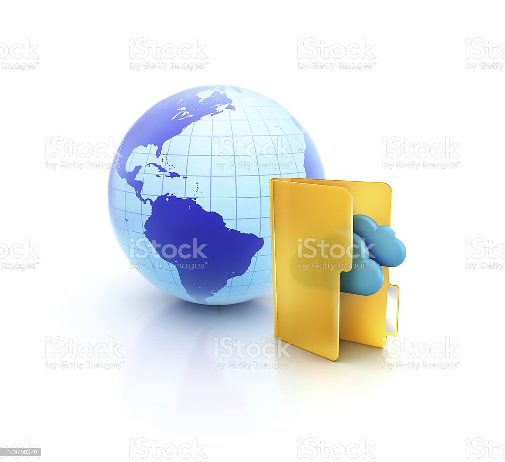 Globe or internet with Cloud computing folder icon royalty-free stock photo