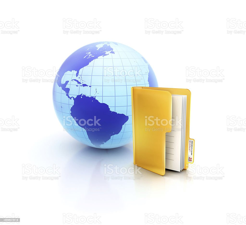 Globe or internet with glossy files and documets folder icon royalty-free stock photo