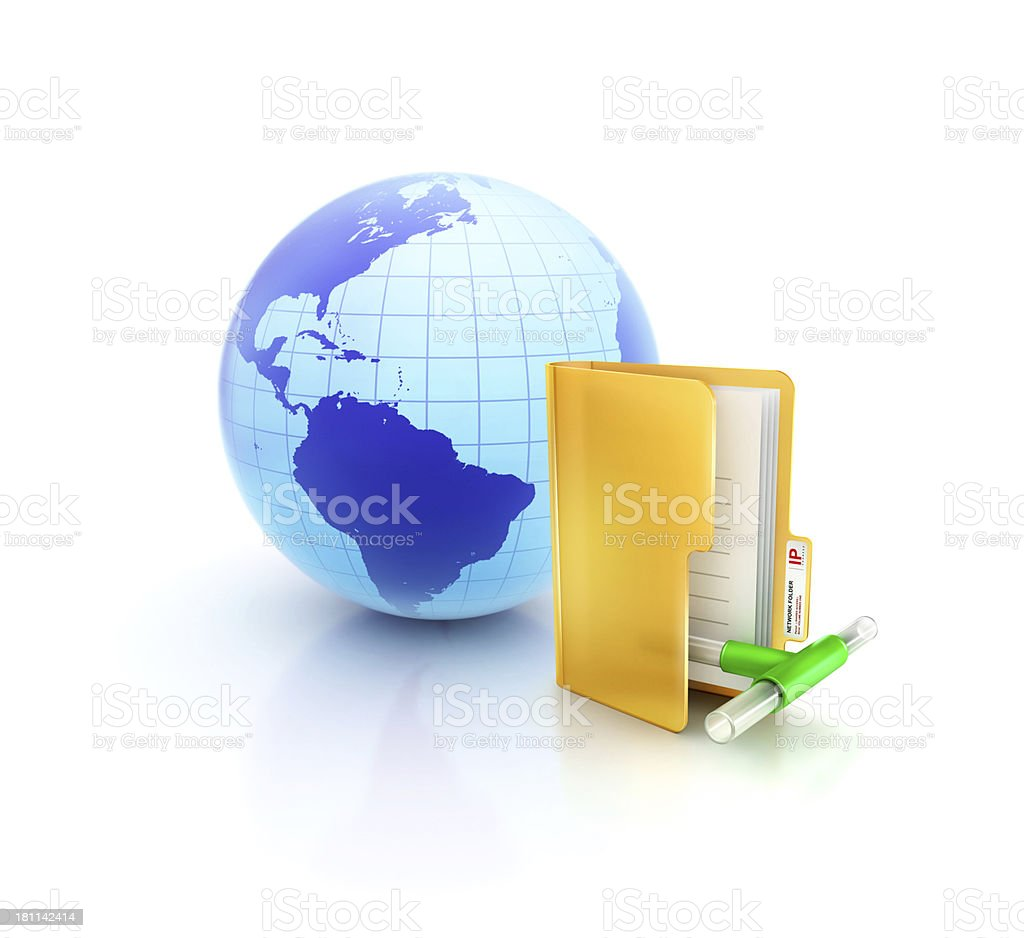 Globe or internet with glossy Lan Network Pipe folder icon royalty-free stock photo
