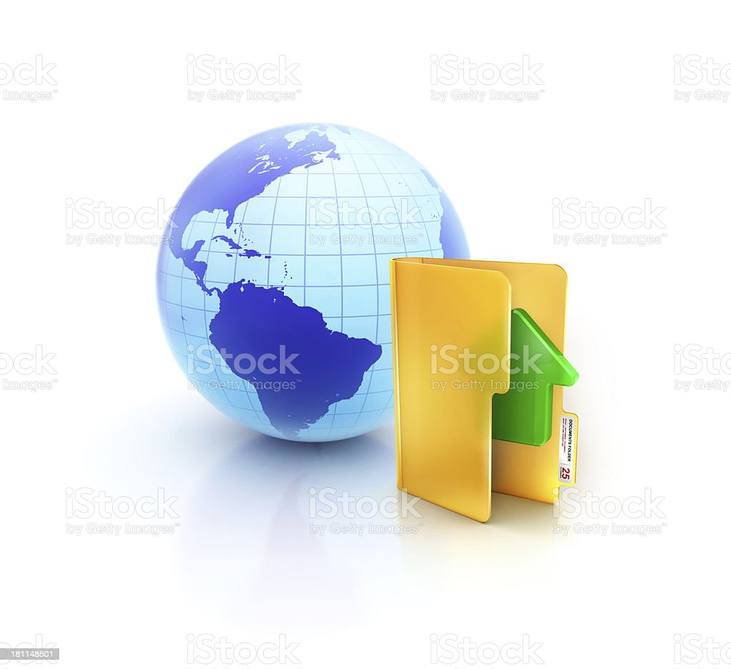 Globe or internet with glossy upload and save folder icon stock photo
