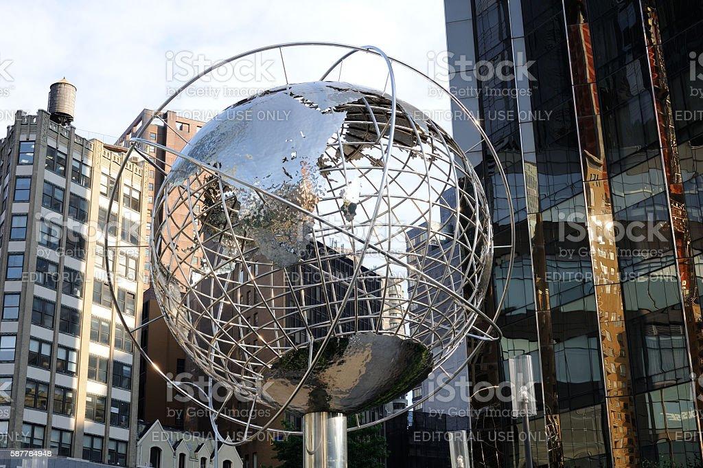 Globe outside Trump International Hotel & Tower in New York stock photo