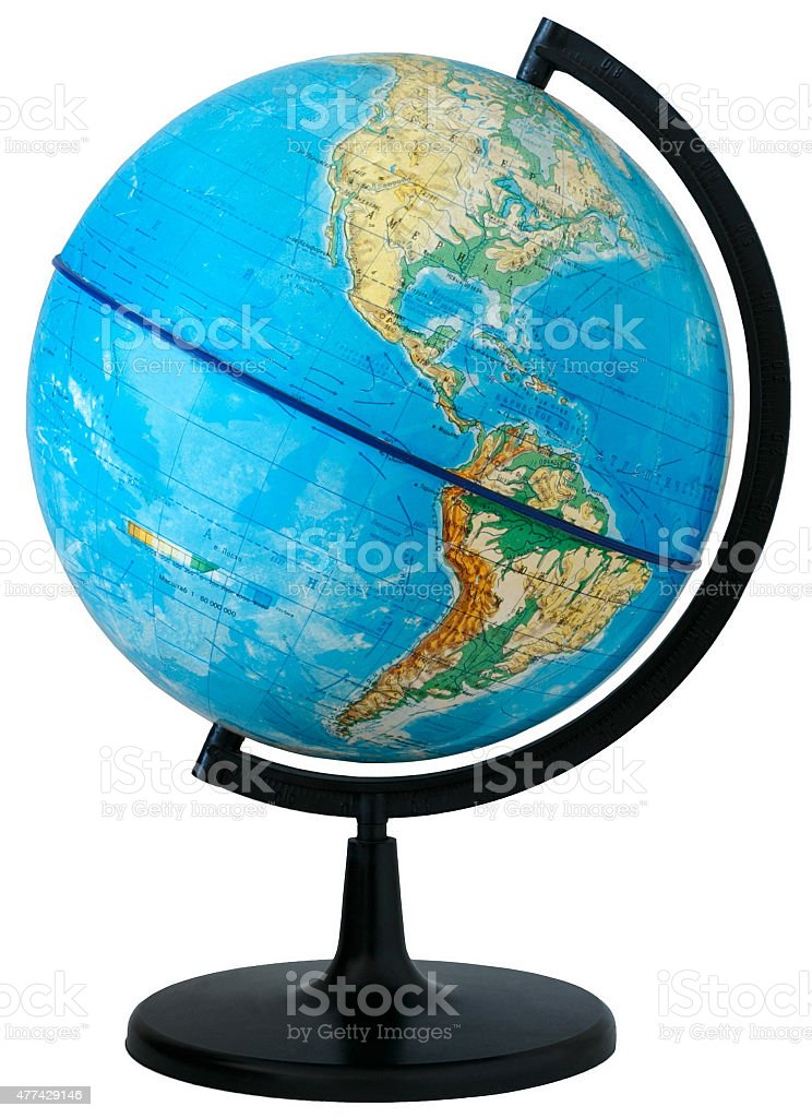 Globe. Physical map stock photo