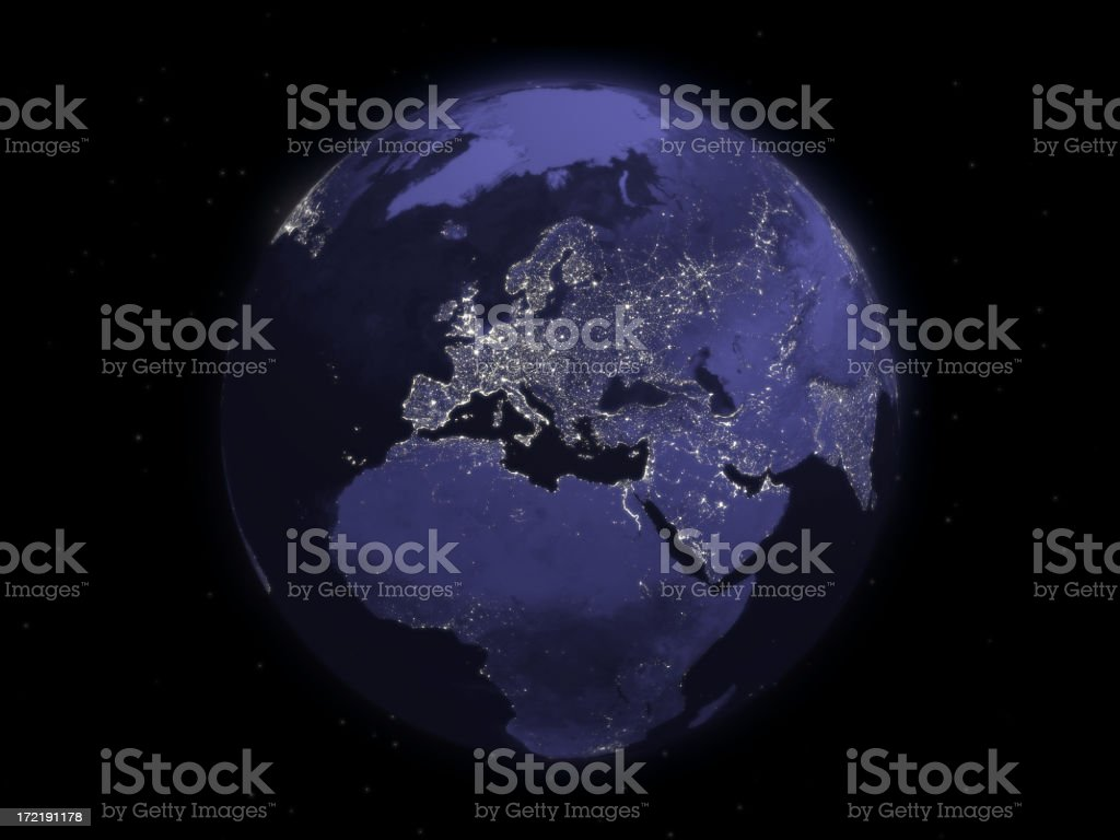 Globe Series: Night - Europe royalty-free stock photo
