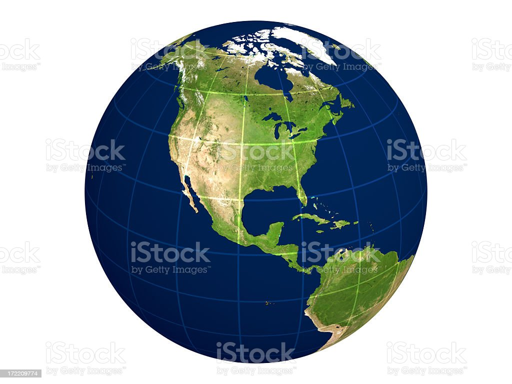 Globe Series: North America / Physical With Transparent Lines royalty-free stock photo