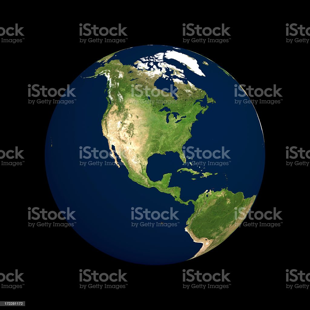 Globe Series: Physical I - North America (with Clipping Path) royalty-free stock photo