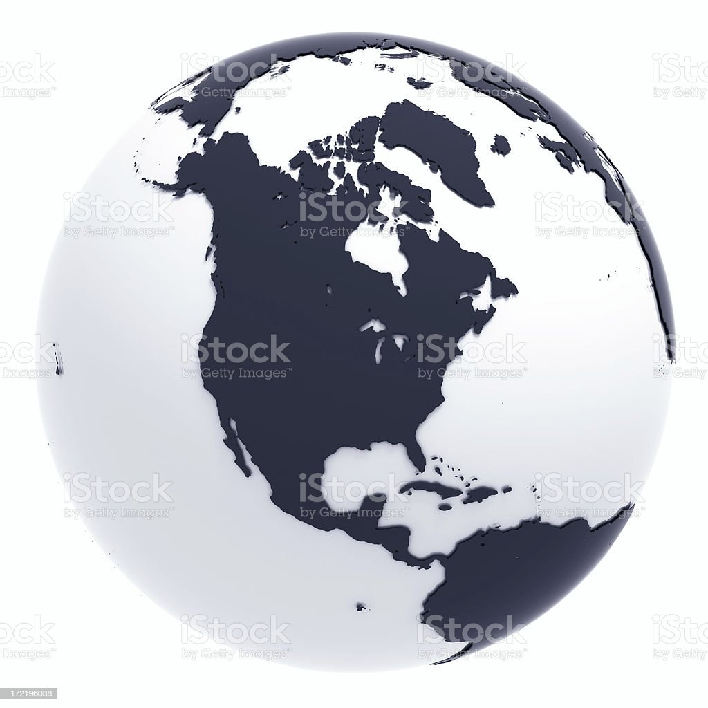 Globe Series: Silver II - North America (with Clipping Path) royalty-free stock photo
