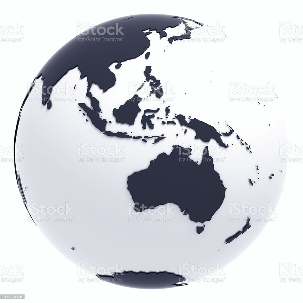 Globe Series: Silver II - Oceania (with Clipping Path) stock photo