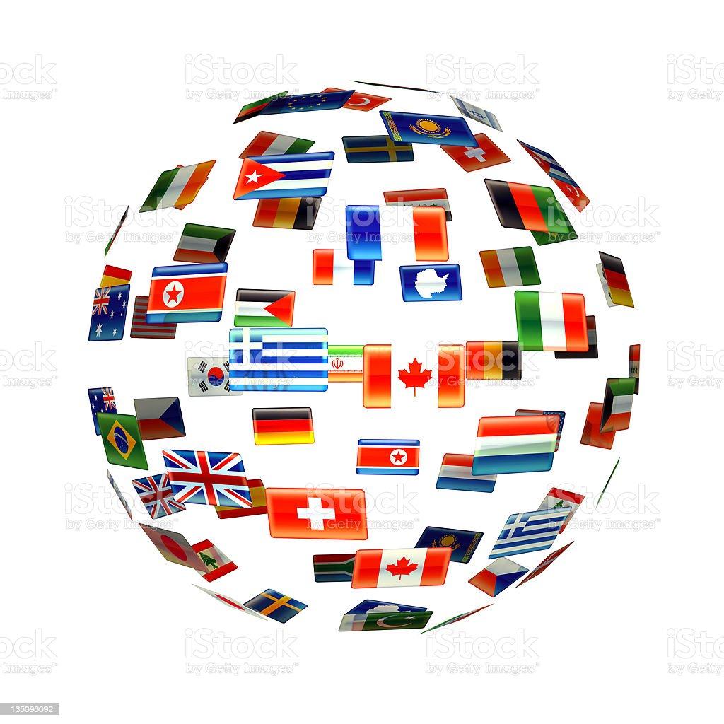 Globe shape made of flags from around the world royalty-free stock photo