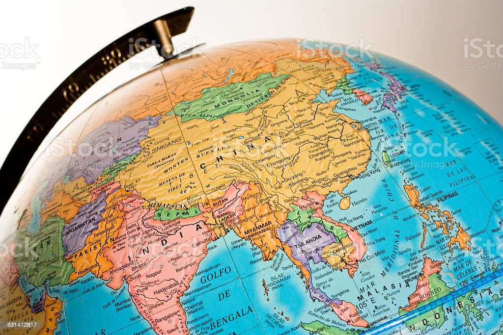 Globe showing Asia stock photo