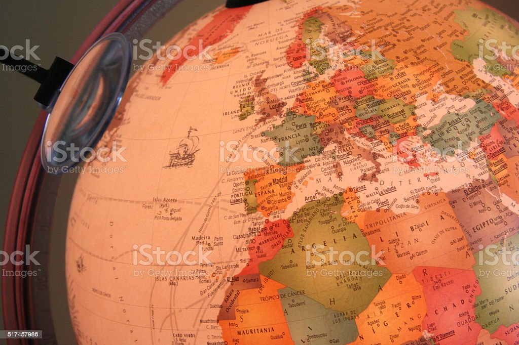 globe showing Europe stock photo