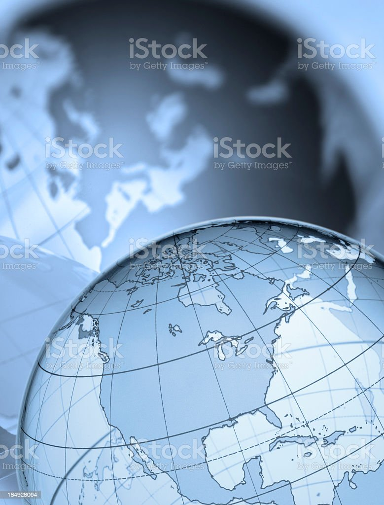 Globe showing North America shadow of Europe in the background stock photo