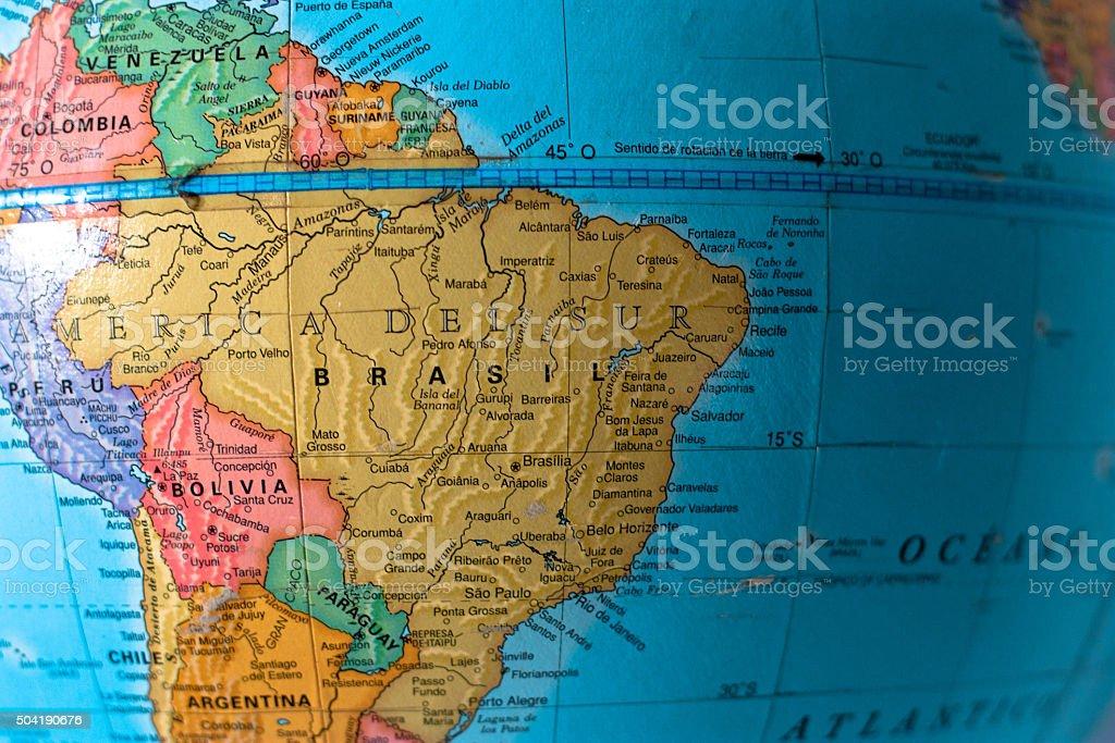 Globe showing Southamerica stock photo