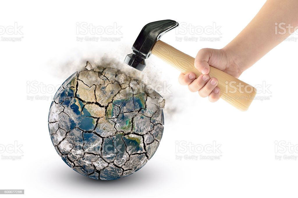 Globe smash with a hammer, isolated on a white background. stock photo