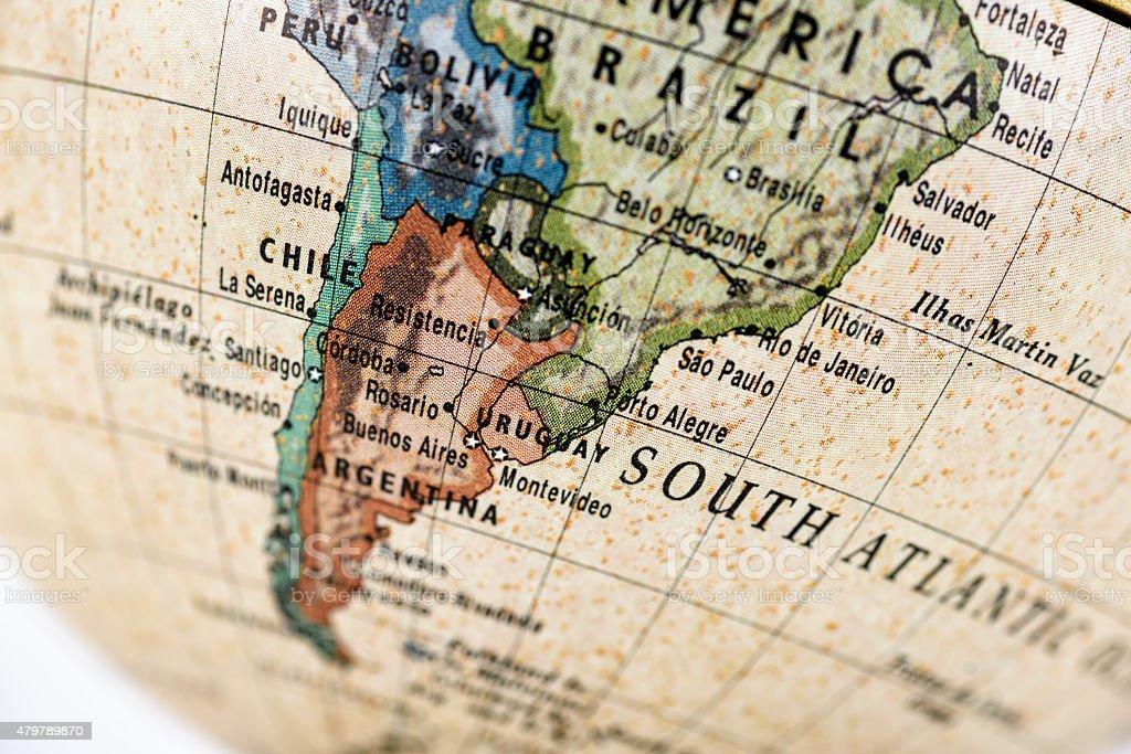 Globe South America stock photo