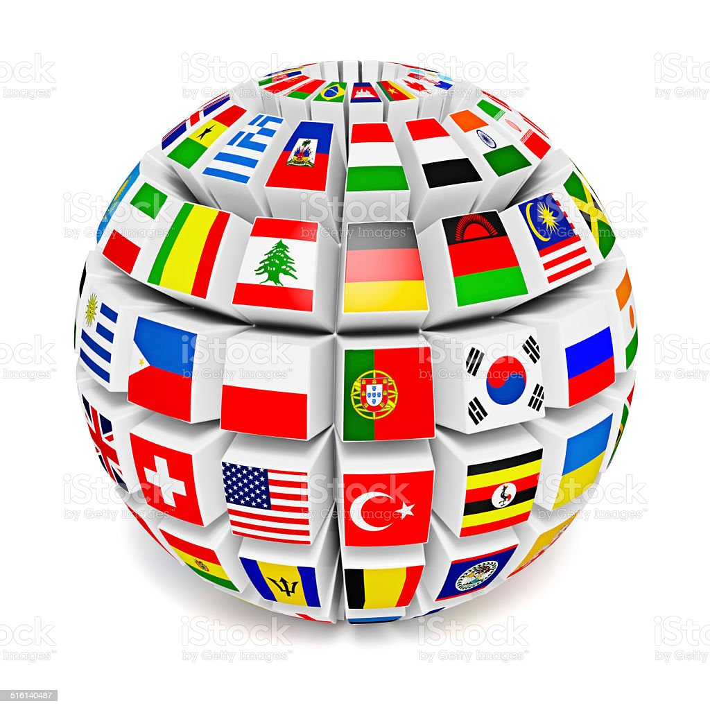 Globe sphere with flags of the world stock photo