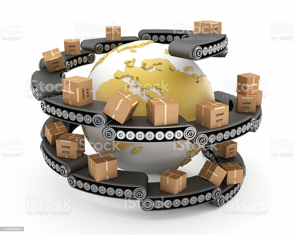 Globe surrounded with boxes on conveyor belts royalty-free stock photo