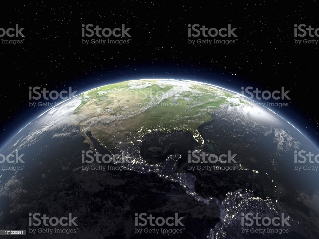 Globe Viewing From Space stock photo