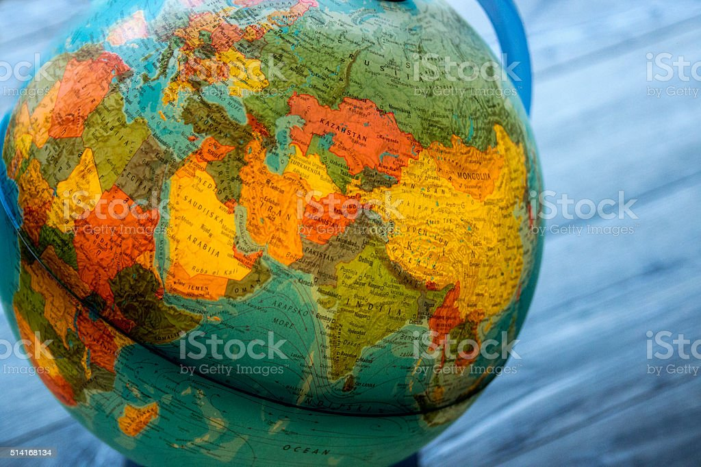 Globe white map of the continents of the world stock photo