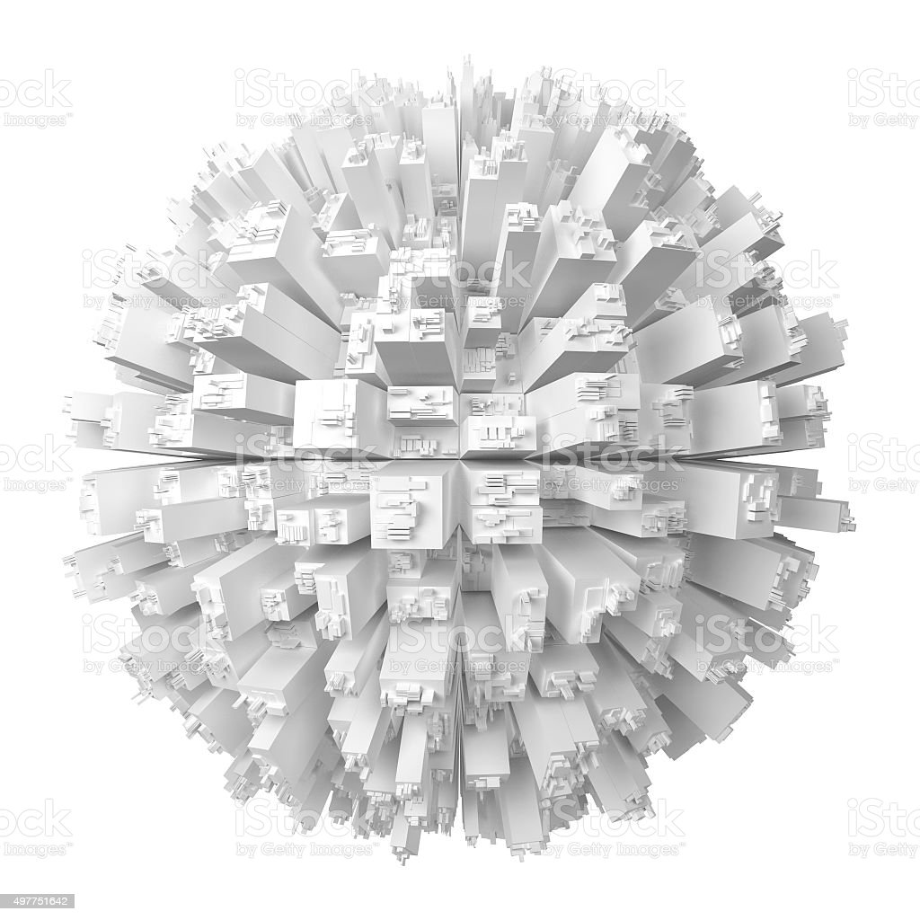 Globe with abstract skyscrapers stock photo