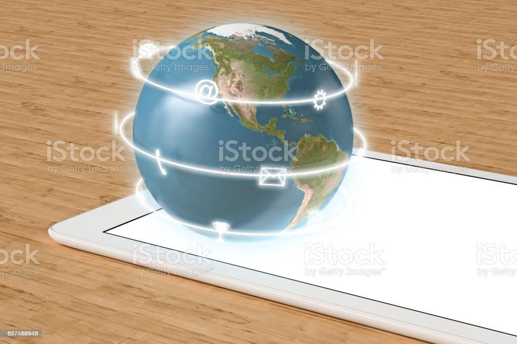 Globe with  app icons on tablet computer stock photo