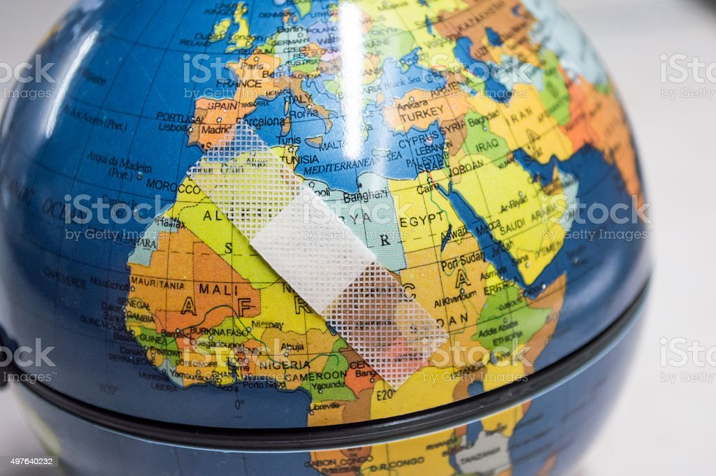 Globe with Bandaid/Plaster Over North Africa royalty-free stock photo