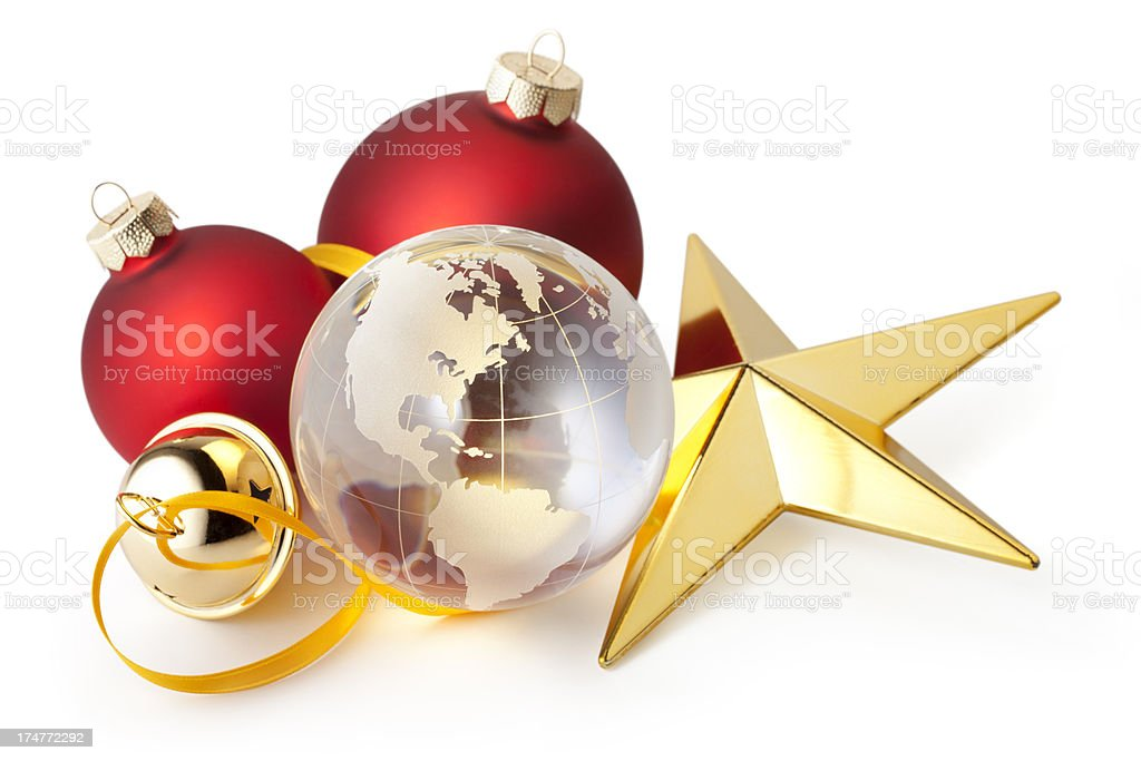 Globe with Christmas decorations royalty-free stock photo