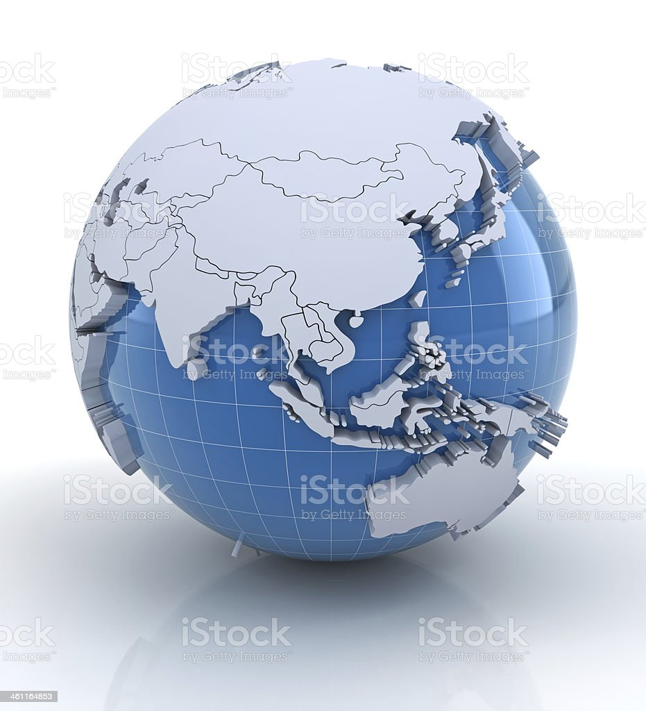 Globe with extruded continents and national borders, asia stock photo