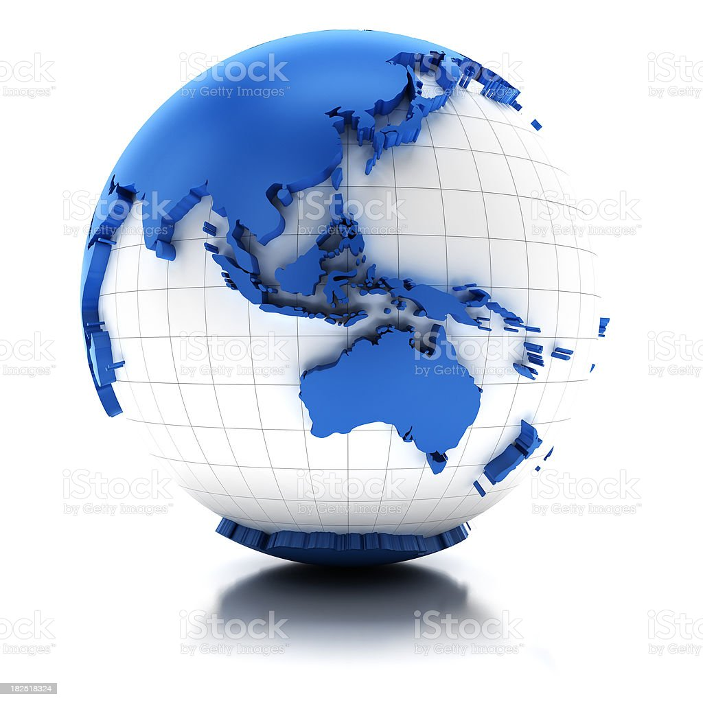 Globe with extruded map of australia and asia, clipping path royalty-free stock photo