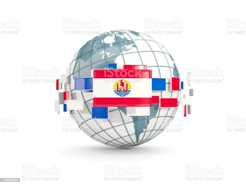 Globe with flag of french polynesia isolated on white stock photo