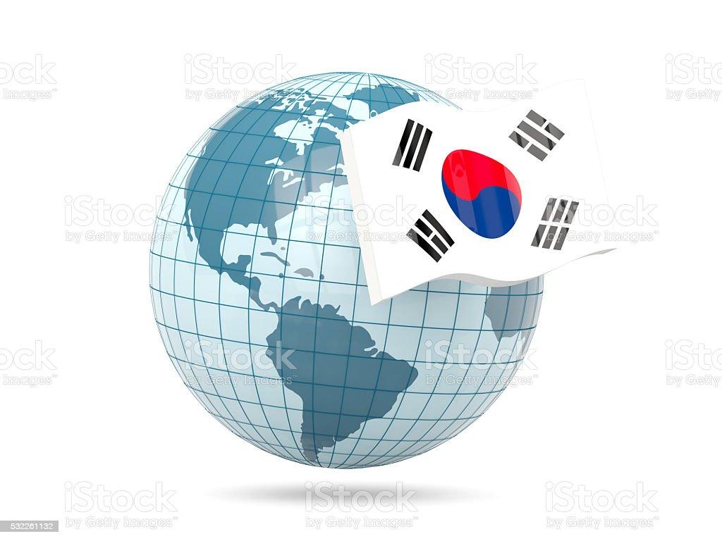Globo Con La Bandera De Corea Del Sur Stock Foto E Imagen
