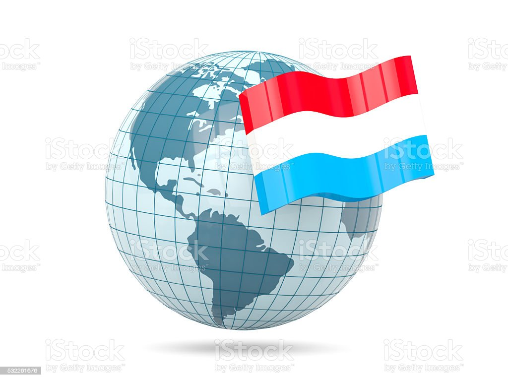 Globe with flag of luxembourg stock photo