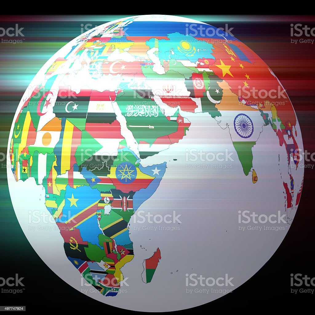 Globe with flags stock photo