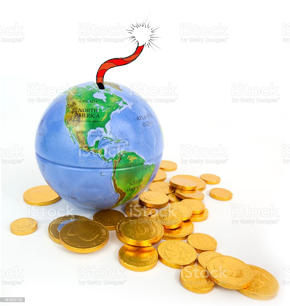 Globe with Fuse and Gold Coins stock photo