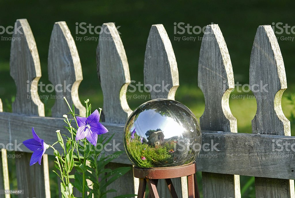 Globe with Garden Reflection stock photo