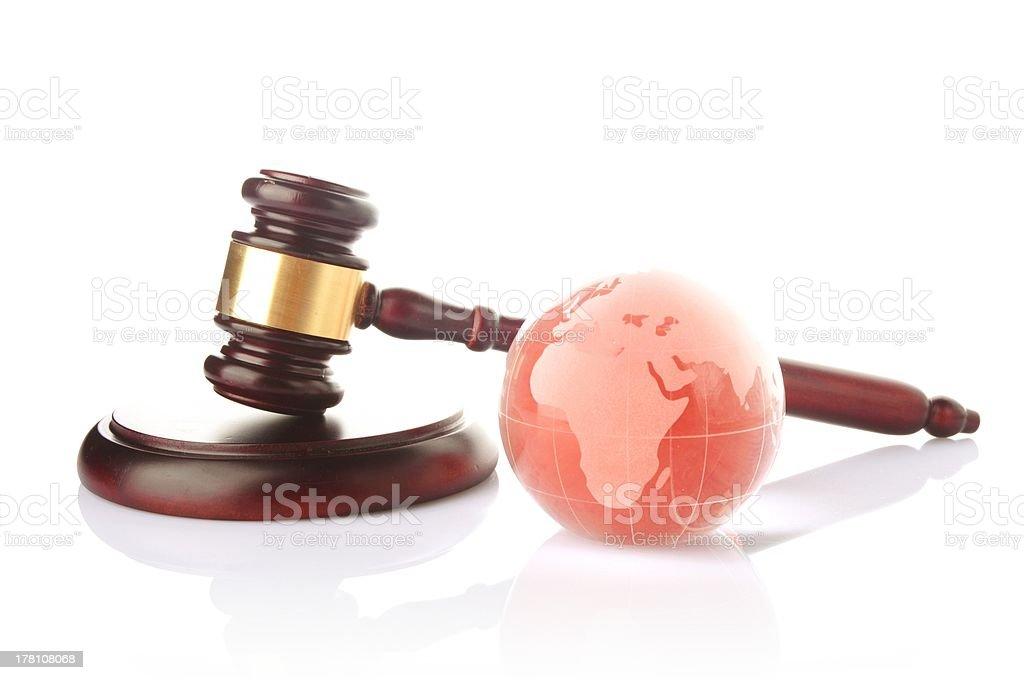 globe with gavel stock photo