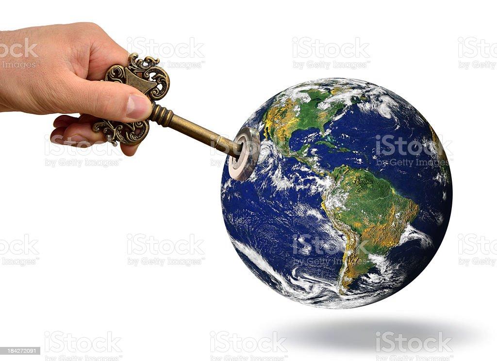 Globe with lock and skeleton key royalty-free stock photo