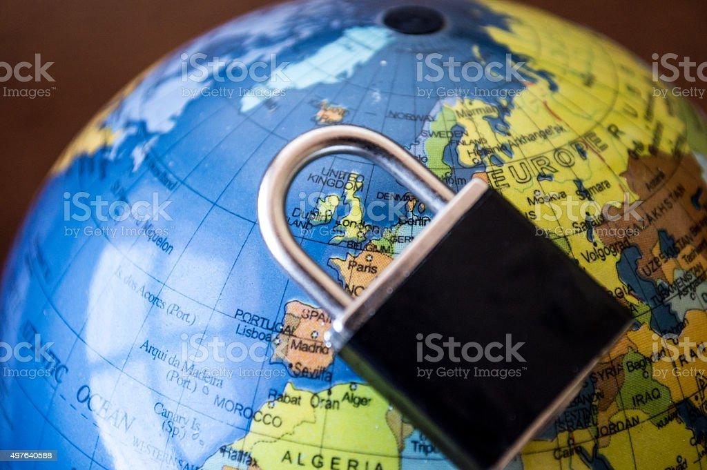 Globe with Lock/Padlock Over Europe royalty-free stock photo