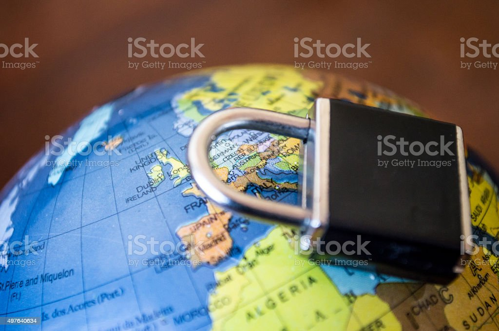 Globe with Lock/Padlock Over Europe Side View royalty-free stock photo