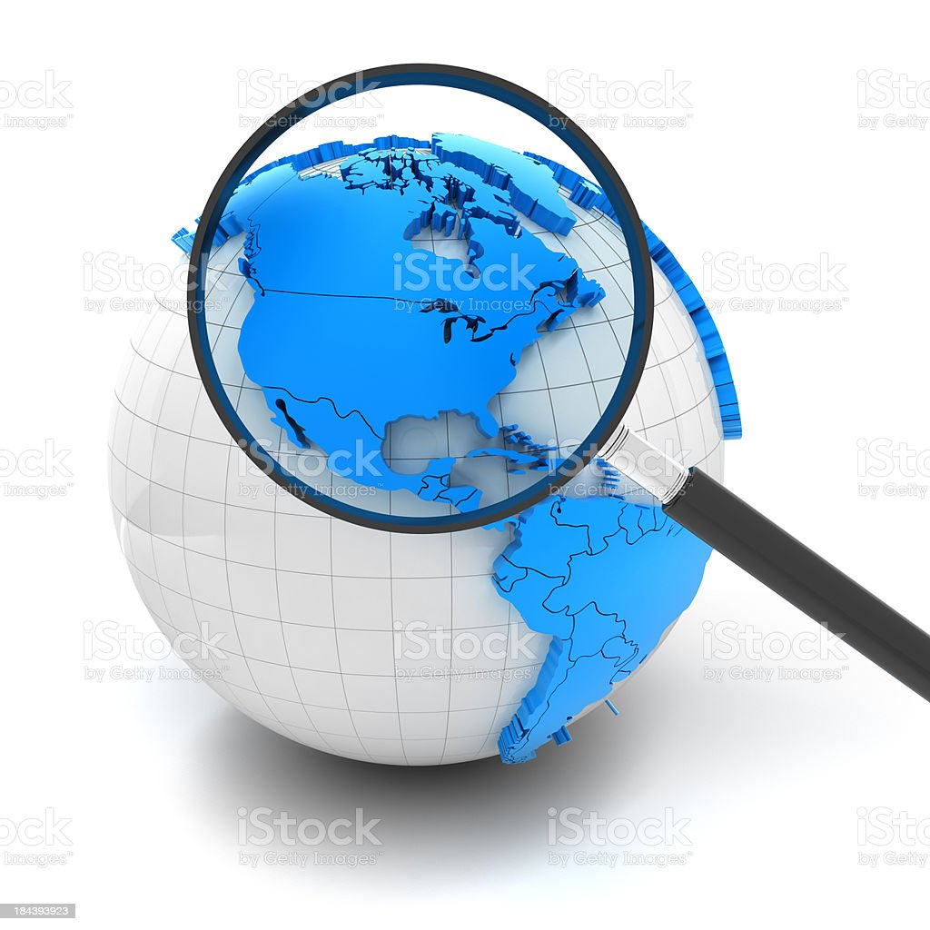 Globe with magnifying glass over north america and USA royalty-free stock photo