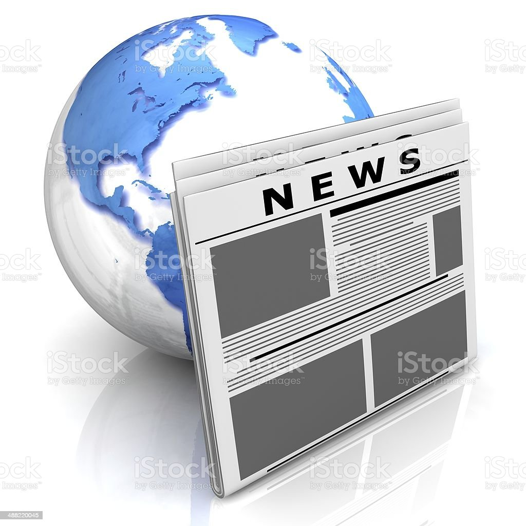 Globe with newspaper royalty-free stock photo