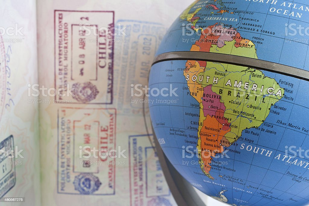 Globe with Passport stock photo