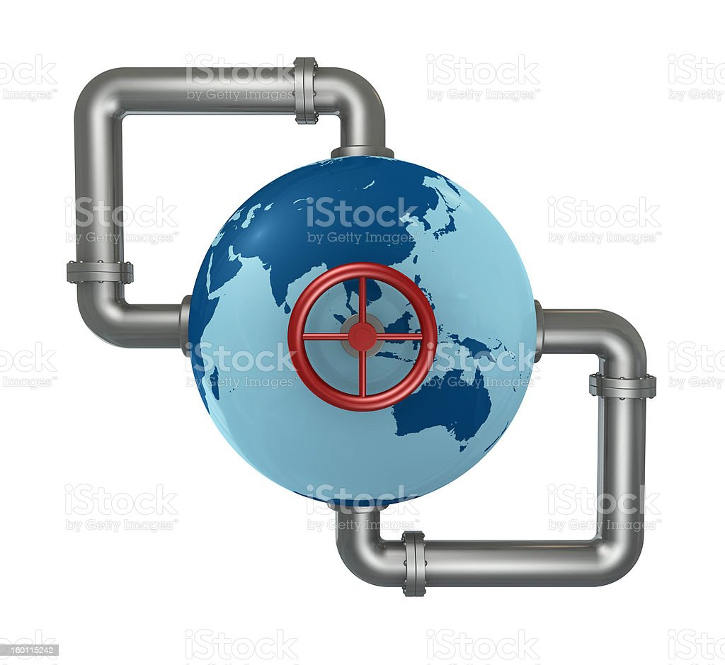 globe with pipes royalty-free stock photo
