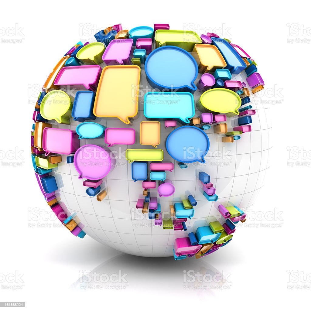 Globe with speech bubbles, Asia version royalty-free stock photo