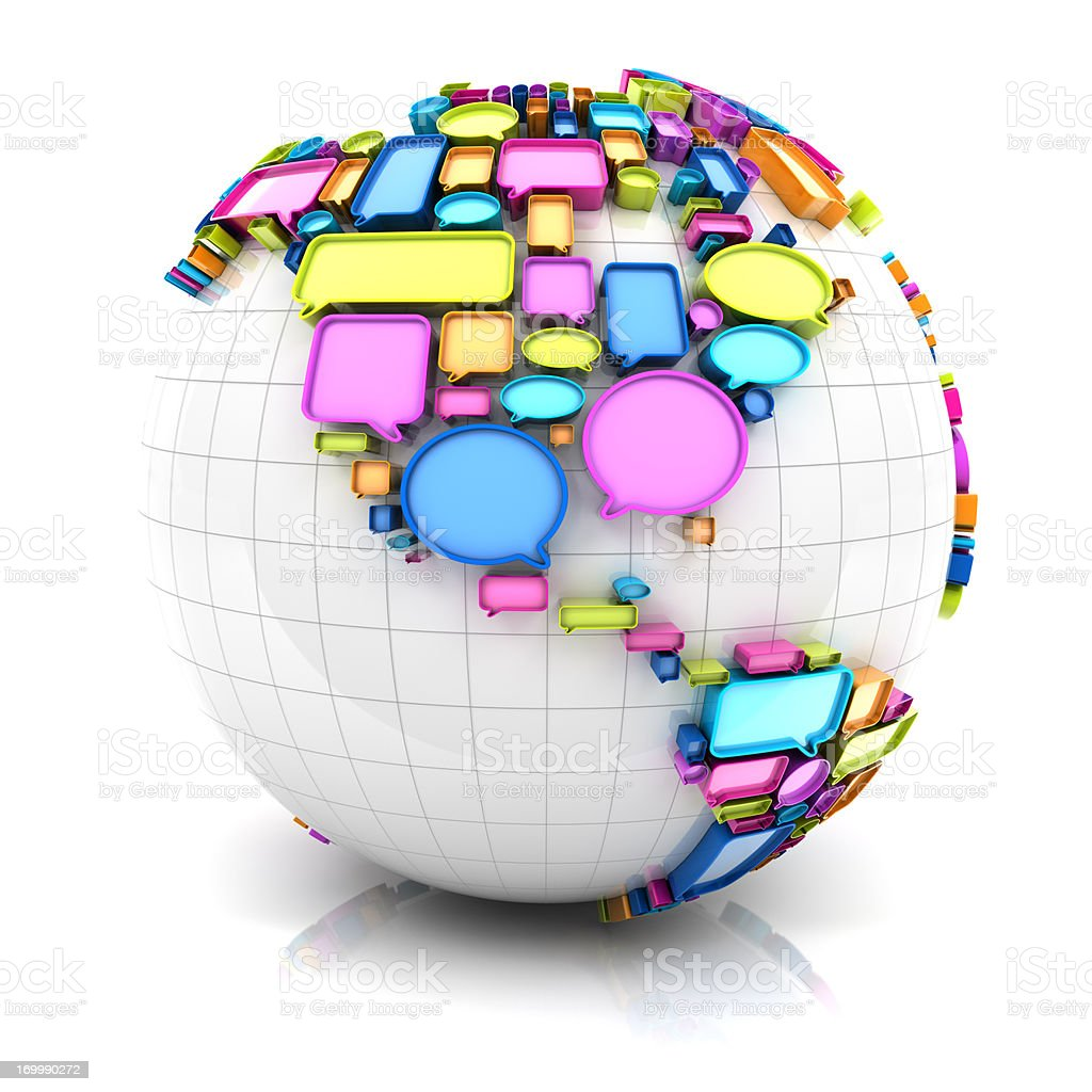 Globe with speech bubbles royalty-free stock photo