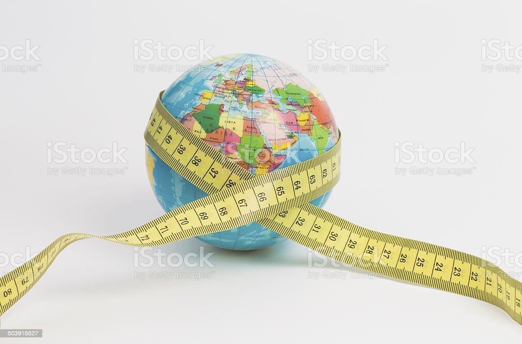Globe with tape stock photo