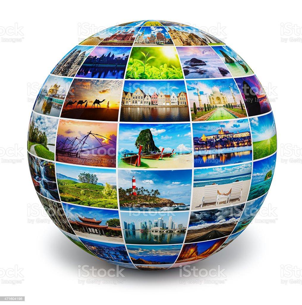 Globe with travel photos stock photo