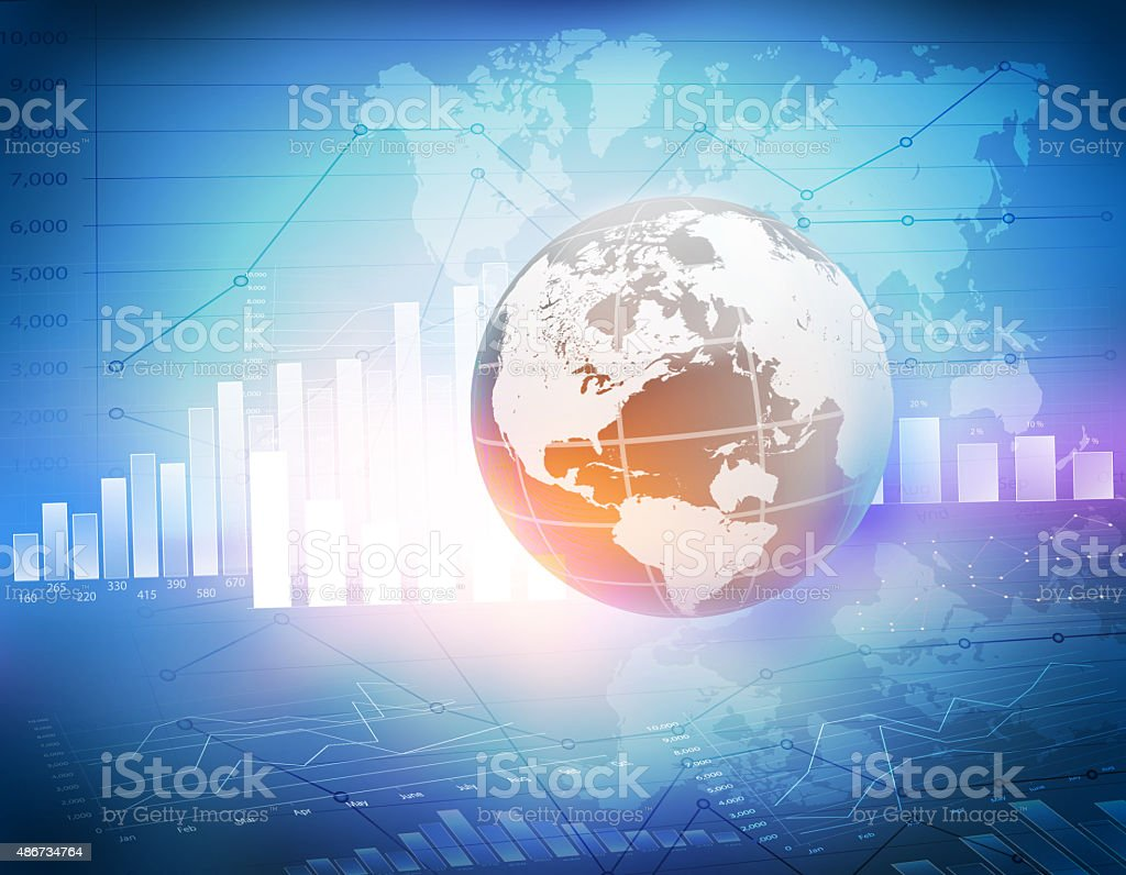 Globe with world map icons and charts stock photo