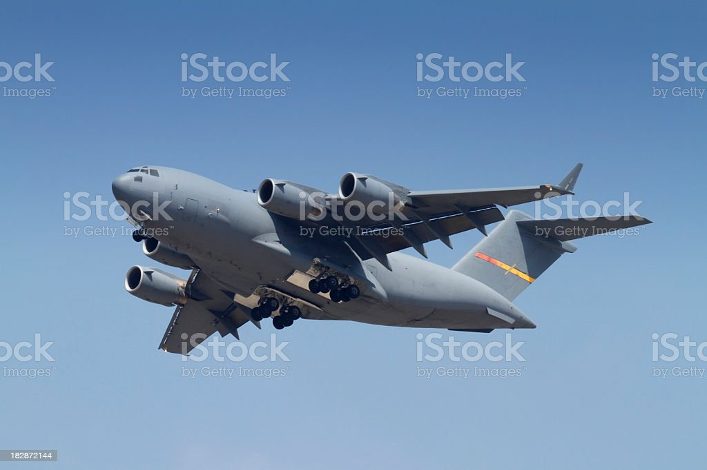 C-17 Globemaster ready to land stock photo
